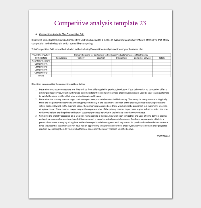 Competitive analysis template 23