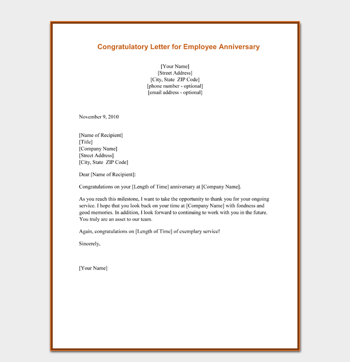Congratulation Letter for Employee Anniversary