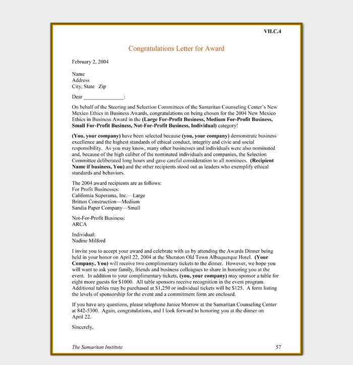 Congratulations Letter for Award