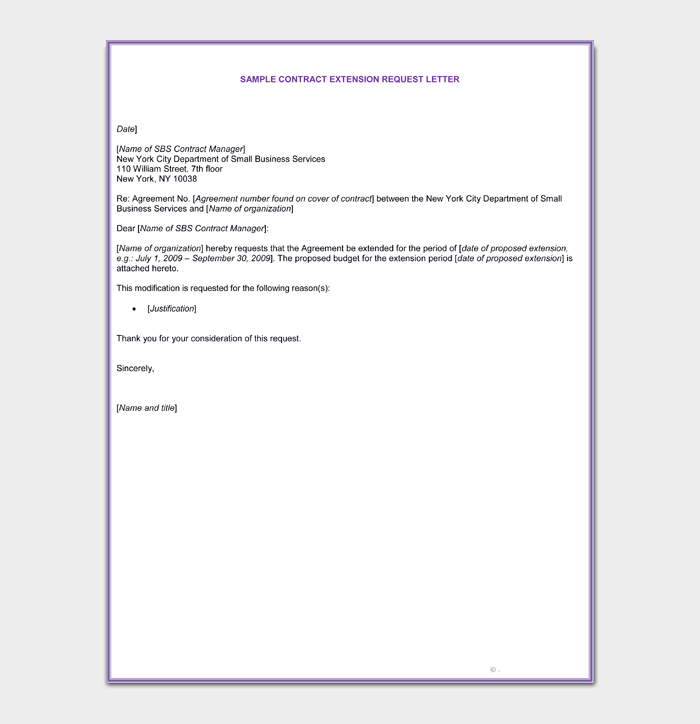 Contract Extension Letter Template