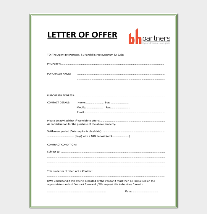 Contract Letter of Offer Template