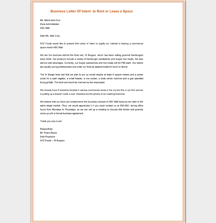 Letter Of Intent For Business Venture from images.docformats.com