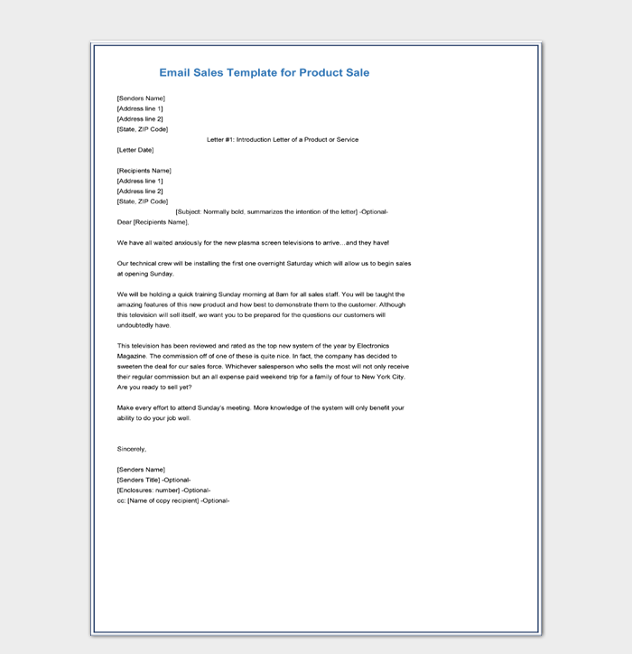 Email Sales Letter Template for Product Sale Doc Download