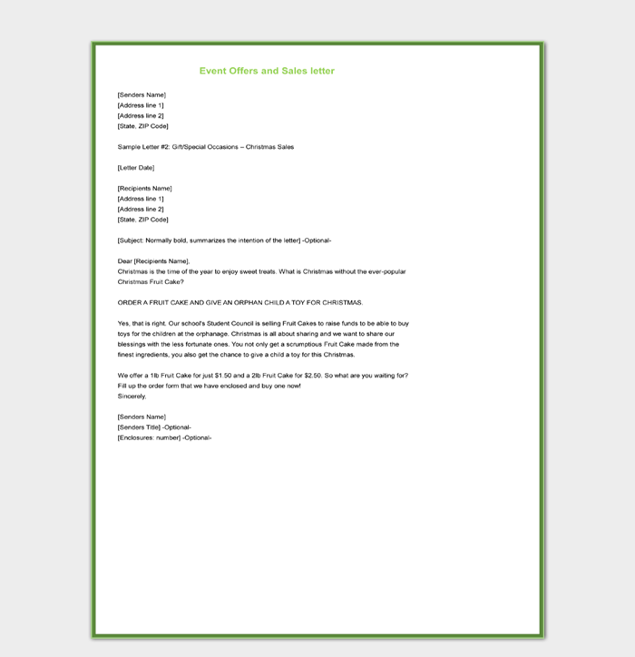 Event Offers and Sales Letter Template Sample Word Doc