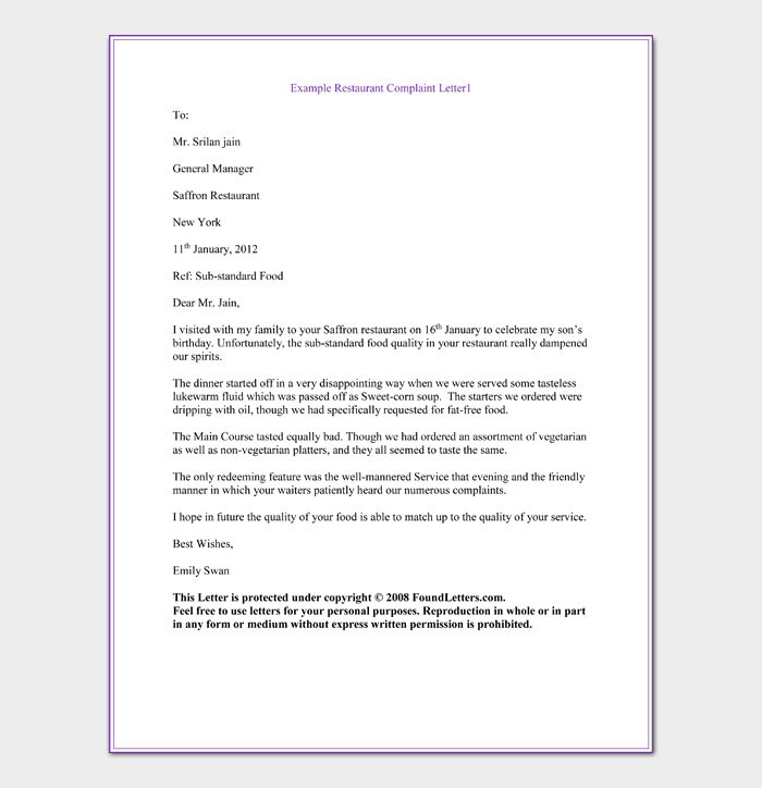 Example Restaurant Complaint Letter1