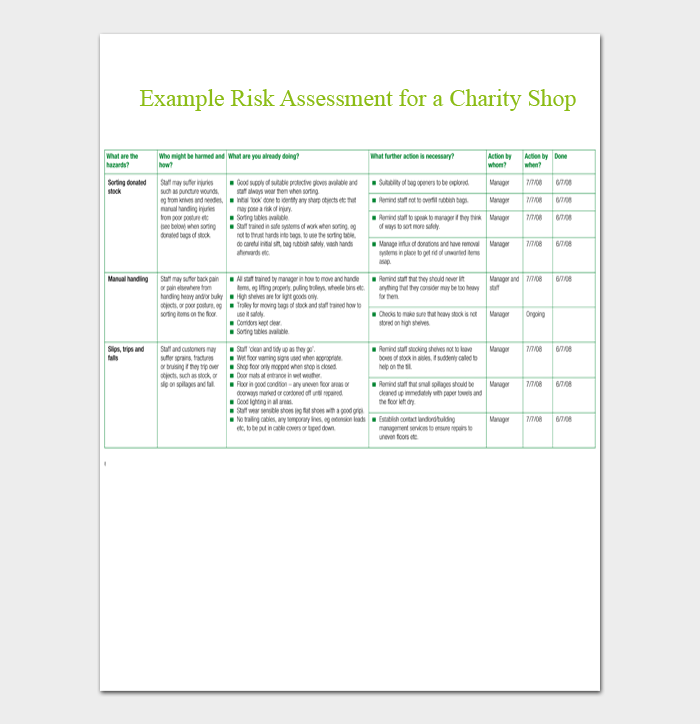 Example Risk Assessment for a Charity Shop