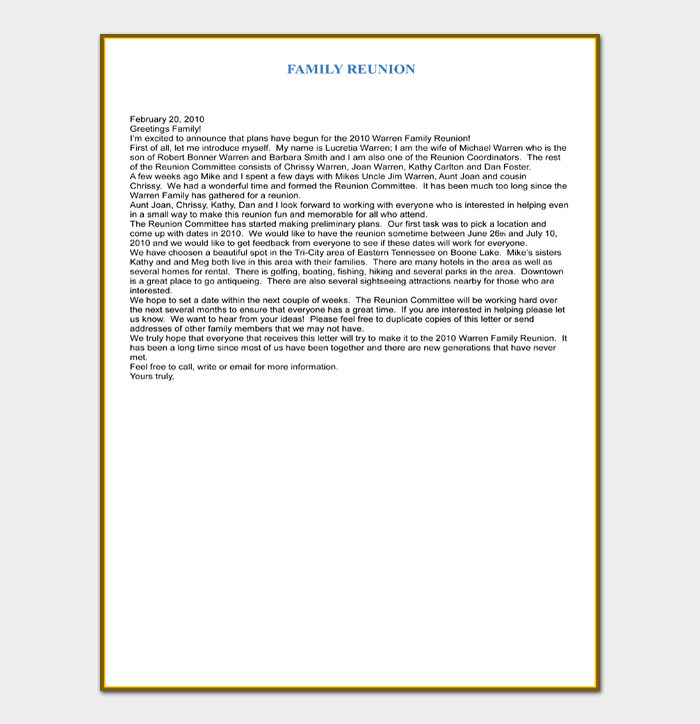 Family Reunion Introduction Letter