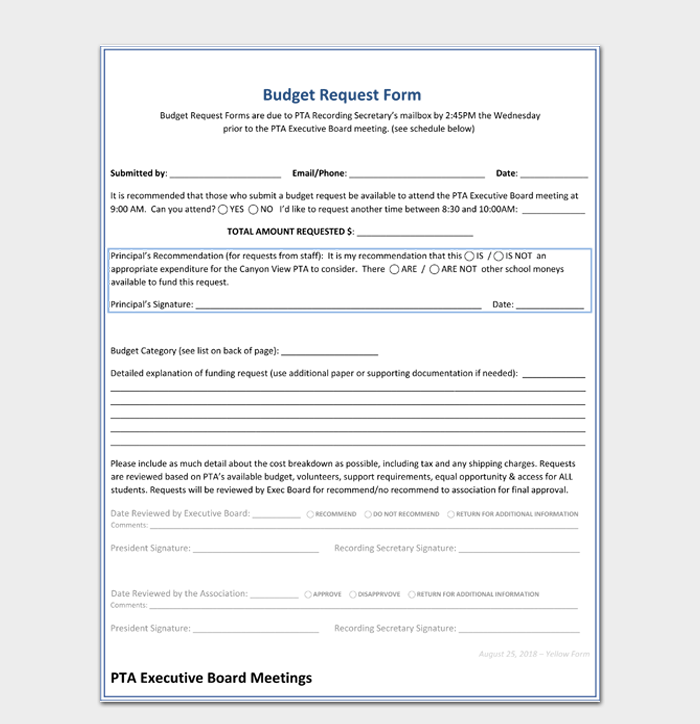Formal Budget Request Form Template