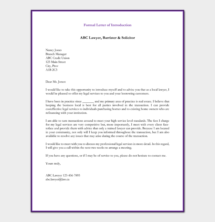 Formal Letter of Introduction