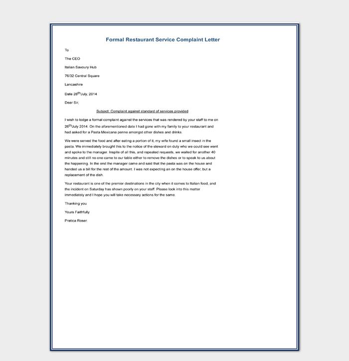 Formal Restaurant Service Complaint Letter