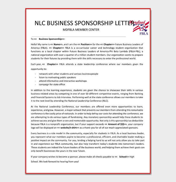 Free Business Sponsorship Letter
