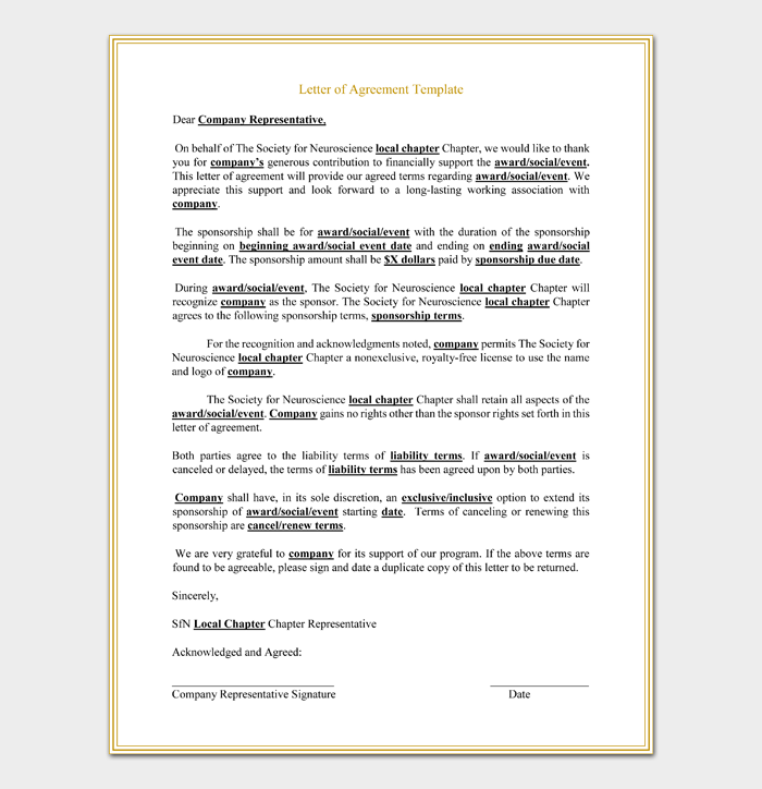 Free Corporate Sponsorship Letter of Agreement Sample PDF