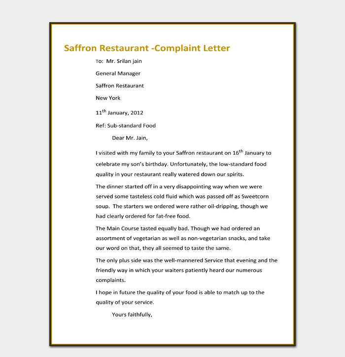 Free Download Restaurant Complaint Letter