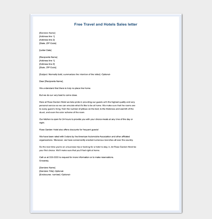 Free Travel and Hotels Sales Letter Template Sample Download
