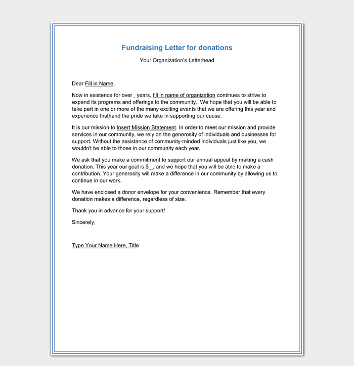 Fundraising Letter for Donations Free Download PDF