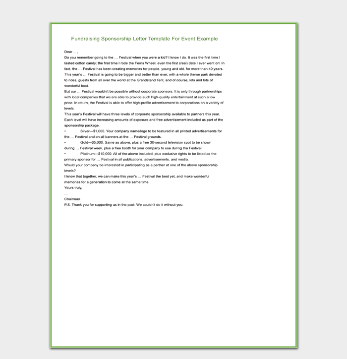 Fundraising Sponsorship Letter Template For Event Example
