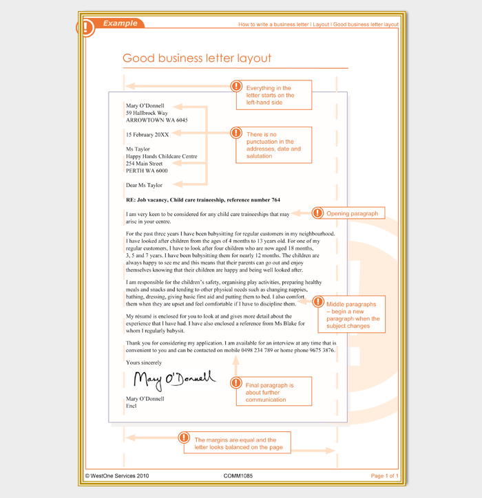 Layout Of A Business Letter from images.docformats.com