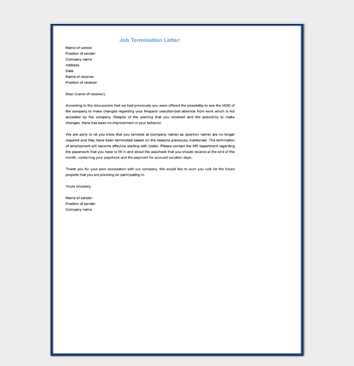 Job Termination Letter Template Word Format Download