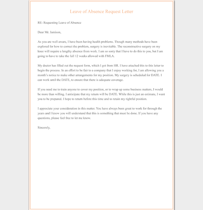 Leave of Absence Request Letter