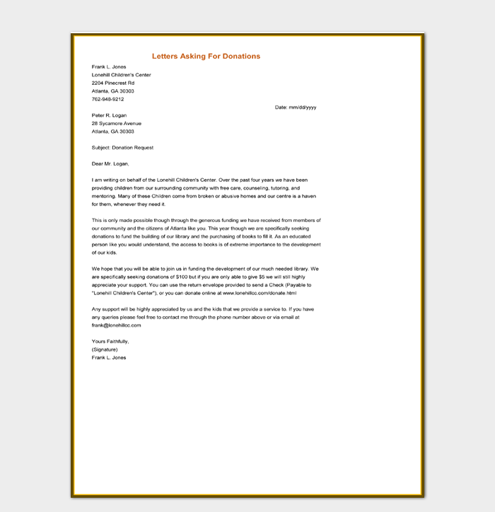 Letter Asking For Donations Word Doc Download
