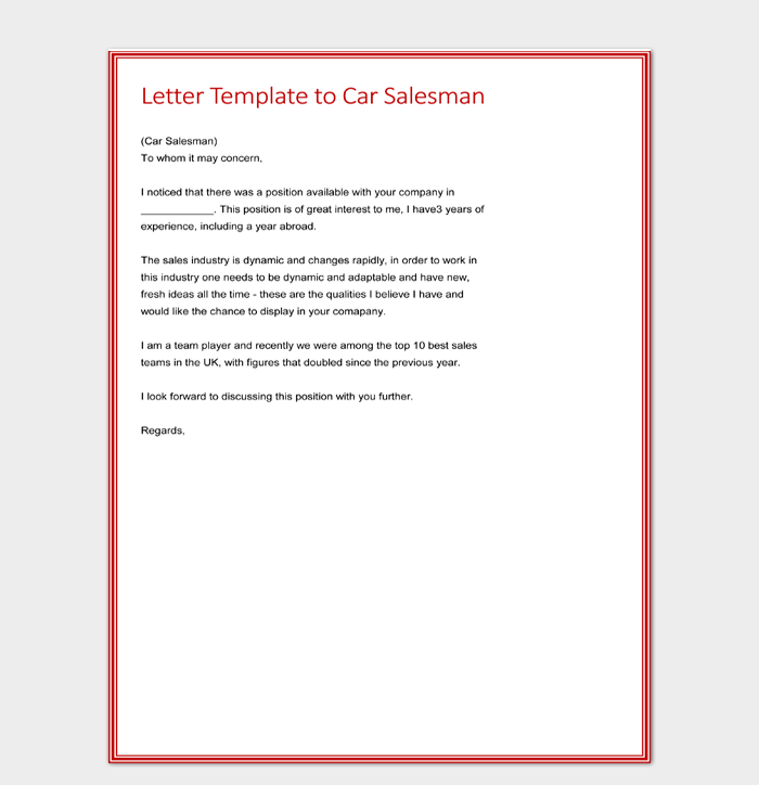 Letter Template to Car Salesman Free Word Editable