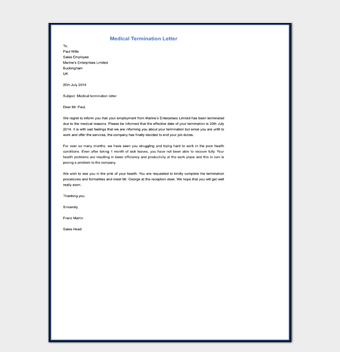 Medical Termination Letter Template Free Download