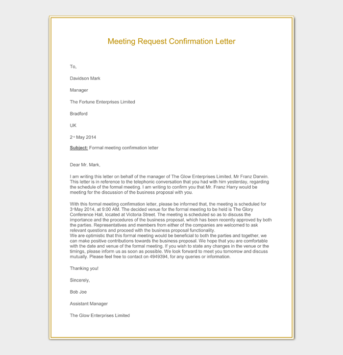 Meeting Request Confirmation Letter
