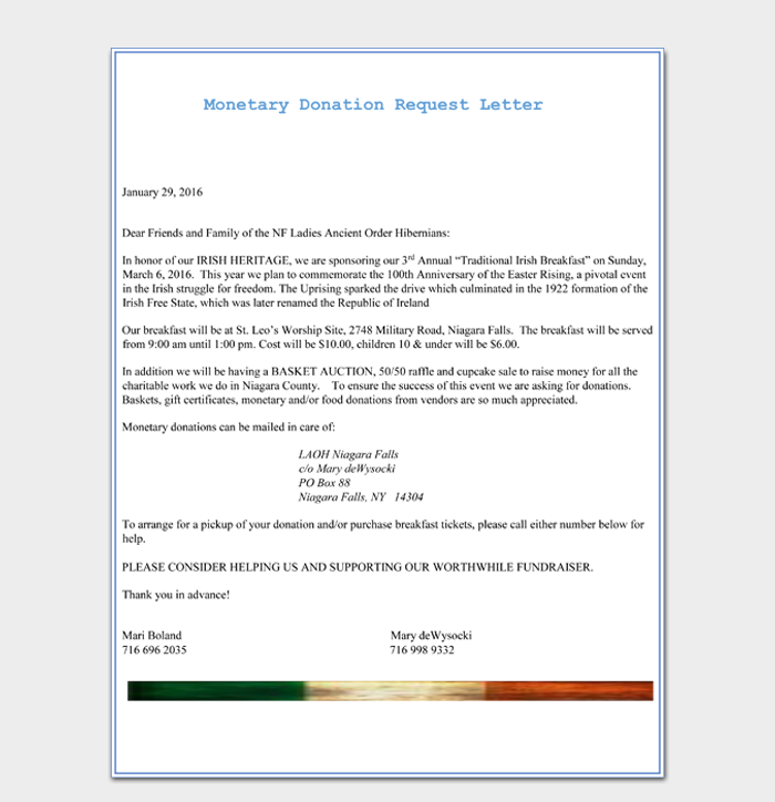 Monetary Donation Request Letter