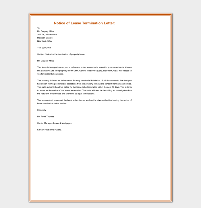 Notice of Lease Termination Letter Template Word Doc