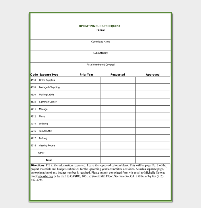 Operating Budget Request Form