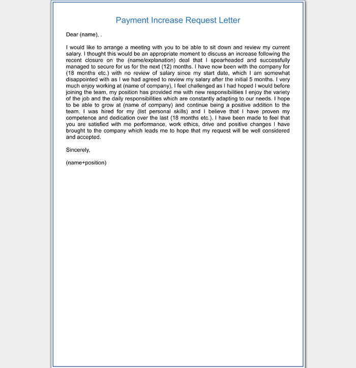 Payment Increase Request Letter