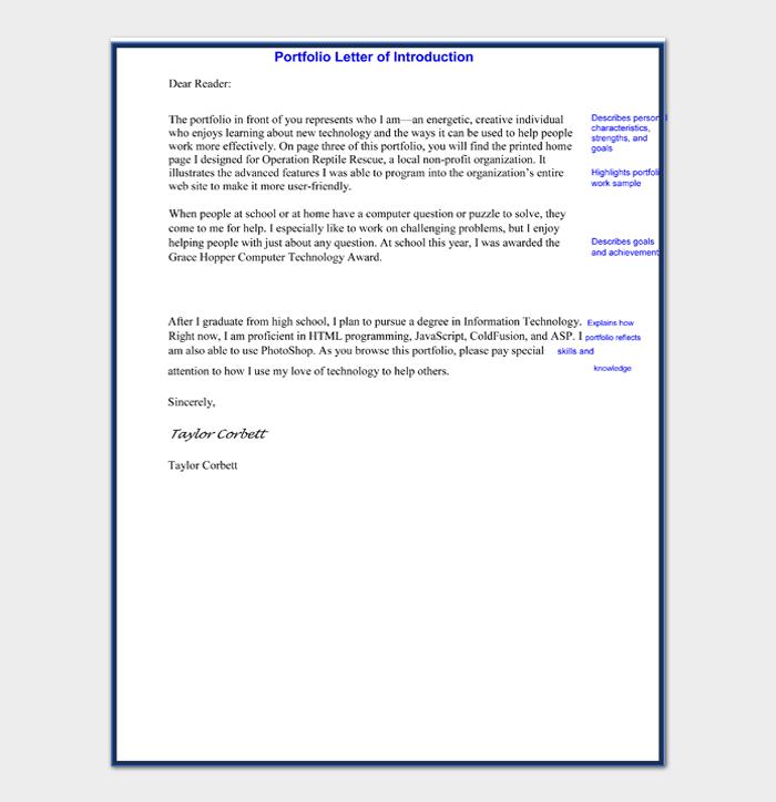 Portfolio Letter of Introduction Sample