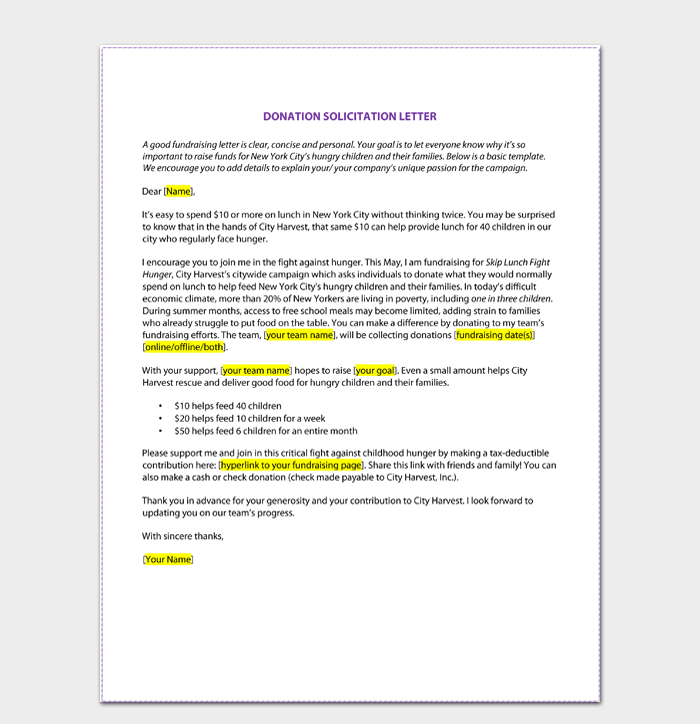 Printable Solicitation Letter for Donations PDF Download