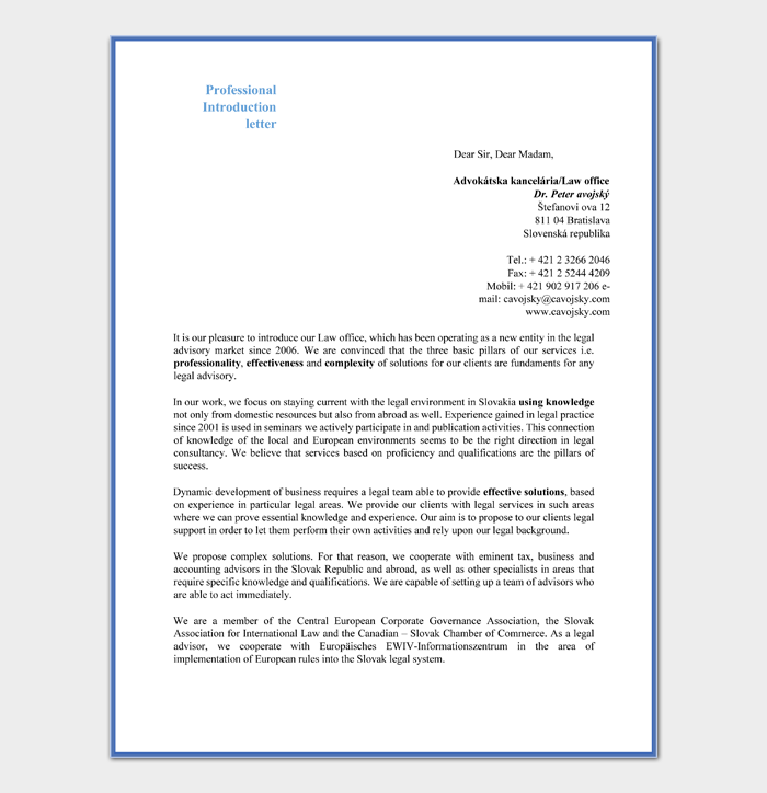 Professional Introduction Letter