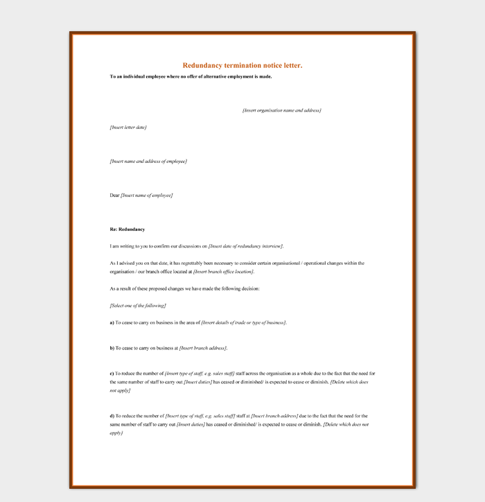 Redundancy Termination Notice Letter MS Word Format Free Download