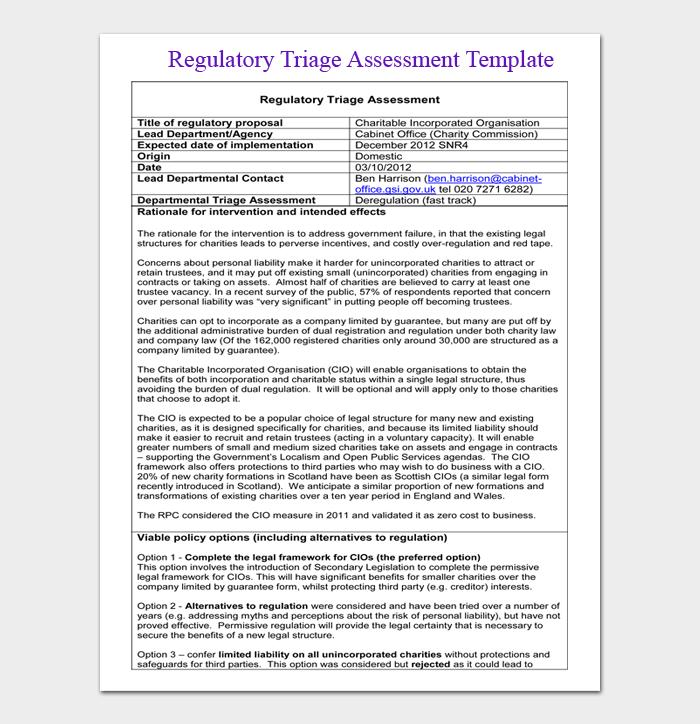 Regulatory Triage Assessment Template