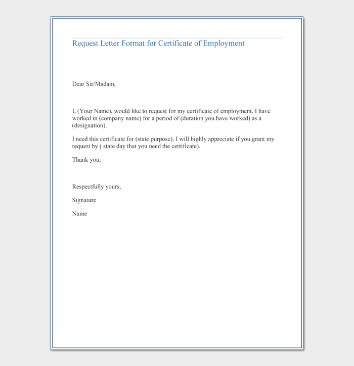 Request Letter For Certificate Of Employment Guide Sample Letters