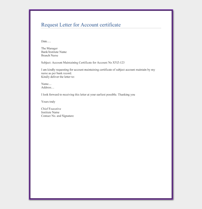 Request Letter for Account certificate