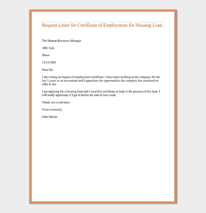 Request Letter for Certificate of Employment for Housing Loan
