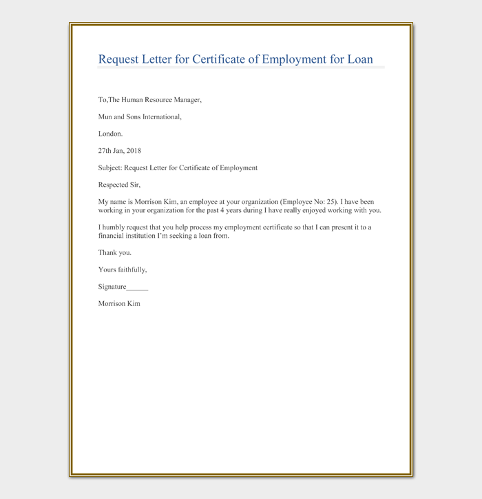 Request Letter for Certificate of Employment for Loan