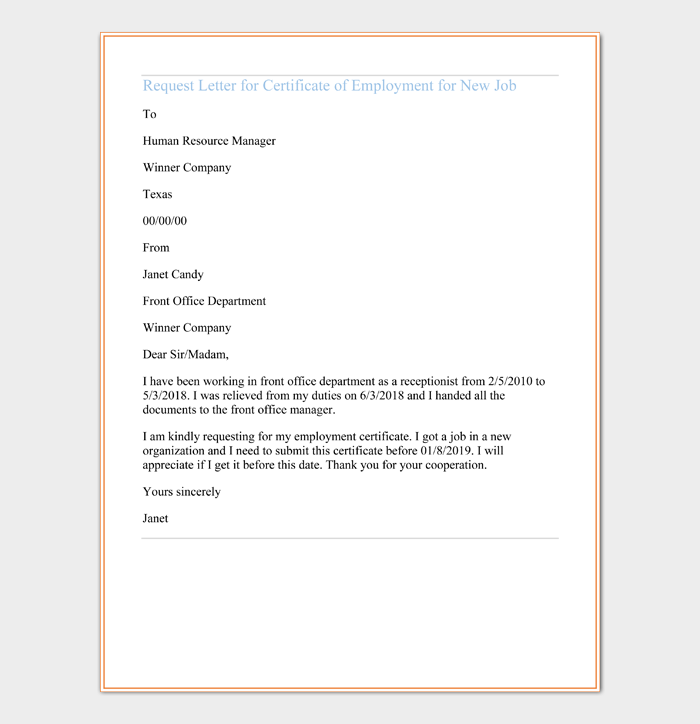 Request Letter for Certificate of Employment for New Job