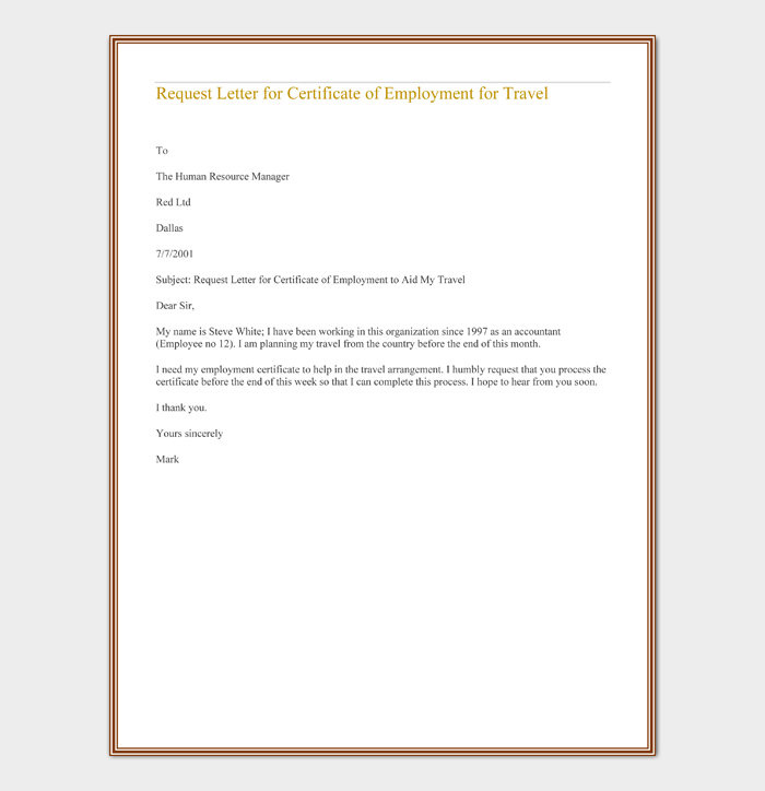 Request Letter for Certificate of Employment for Travel