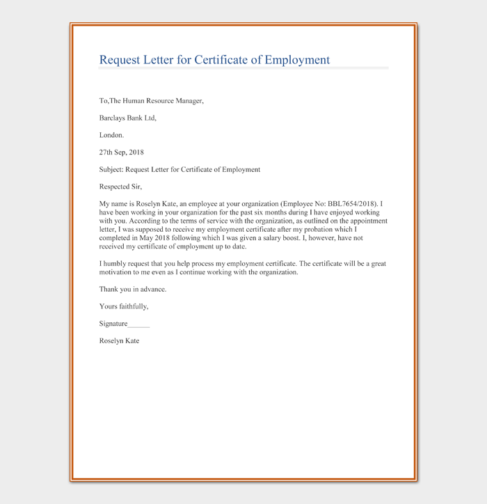 Request Letter for Certificate of Employment