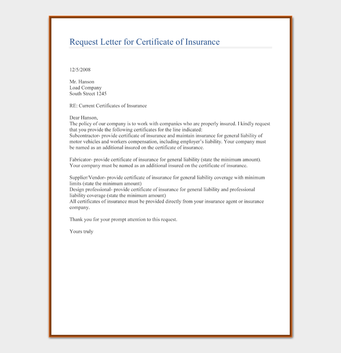 Request Letter for Certificate of Insurance