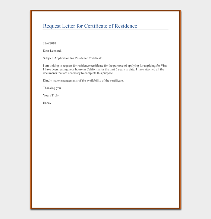Request Letter for Certificate of Residence
