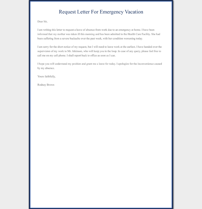 Request Letter for Emergency Vacation