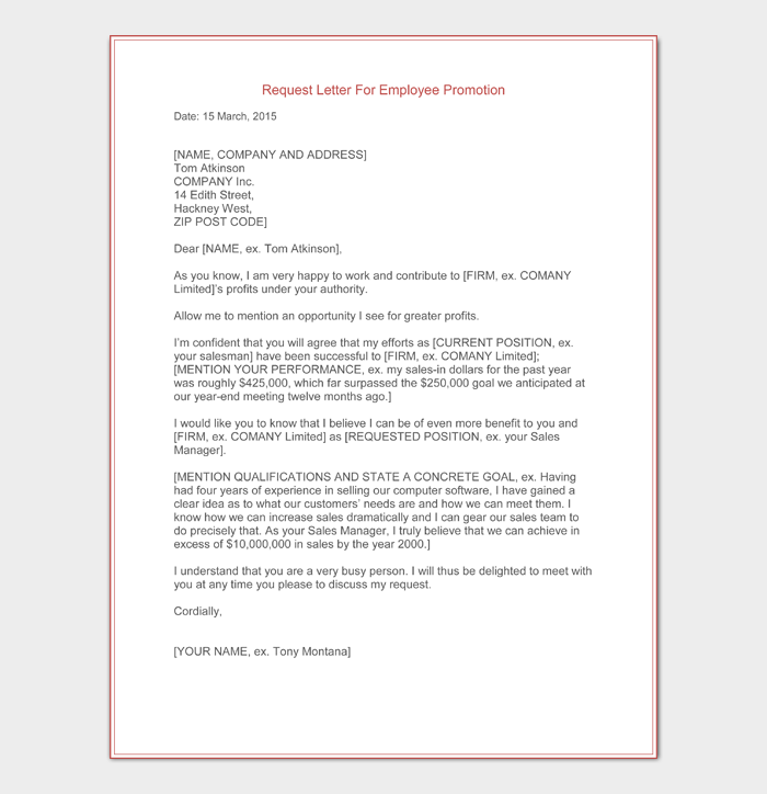 Request Letter for Employee Promotion