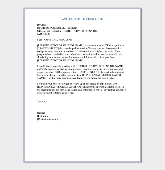 Request Letter for Formal Meeting