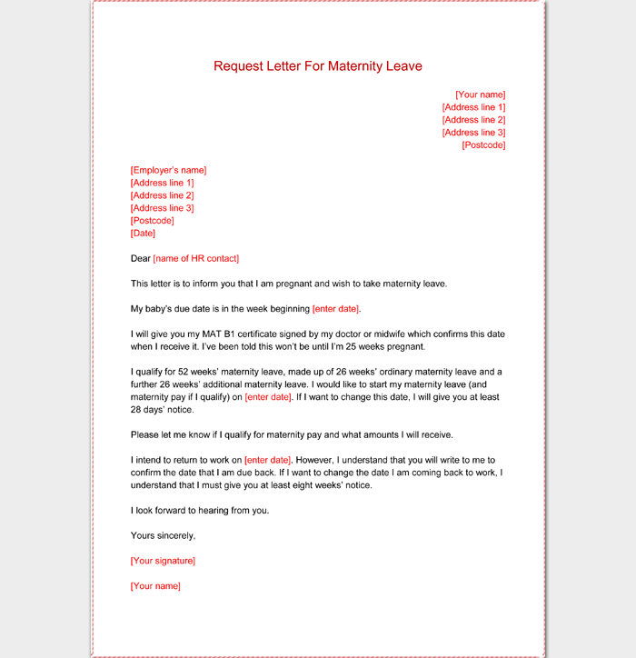 Request Letter for Maternity Leave