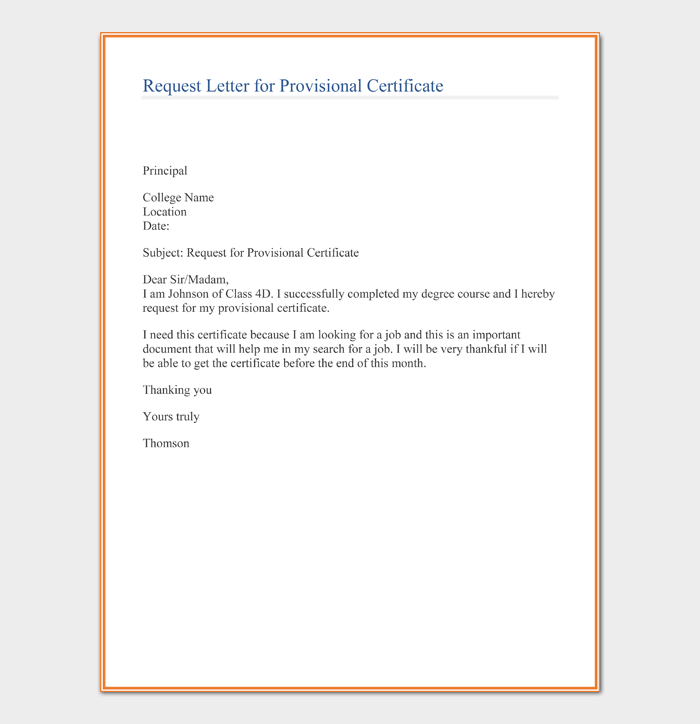 Request Letter for Provisional Certificate